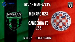 NPL1 Men - U23 - Capital Football  Series 2 - Monaro Panthers U23 v Canberra FC U23 Slate Image