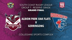 Group 7 South Coast Rugby League Grand Final - Reserve Grade - Albion Park Oak Flats v Gerringong Slate Image