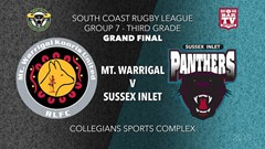 Group 7 South Coast Rugby League Grand Final - 3rd Grade - Mt Warrigal Kooris v Sussex Inlet Panthers Slate Image