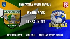 Newcastle Rugby League Semi Final - Reserves Grade - Wyong Roos v Lakes United Slate Image