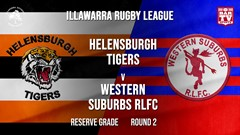 IRL Round 2 - Reserve Grade - Helensburgh Tigers v Western Suburbs RLFC Slate Image