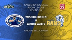 CRRL 1st Grade - West Belconnen Warriors v Woden Valley Rams Slate Image