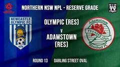 NPL NNSW RES Round 13 - Newcastle Olympic (Res) v Adamstown Rosebud FC (Res) Slate Image
