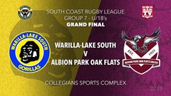 Group 7 South Coast Rugby League Grand Final - U18 - Warilla-Lake South v Albion Park Oak Flats Slate Image