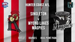 AFL HCC Round 5 - Shield - Singleton Roosters v Wyong Lakes Magpies Slate Image