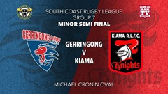 Group 7 South Coast Rugby League MINOR SEMI FINAL - 1st Grade - Gerringong v  Kiama Knights Slate Image