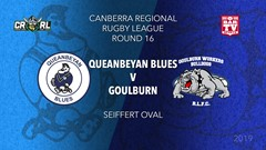 CRRL Round 16 - 1st Grade - Queanbeyan Blues v Goulburn Workers Bulldogs Slate Image