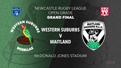 2019 Newcastle Rugby League Grand Final - Open Grade - Western Suburbs Rosellas v Maitland Pickers Slate Image