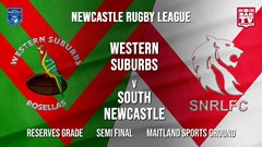 Newcastle Rugby League Semi Final - Reserves Grade - Western Suburbs Rosellas v South Newcastle Slate Image