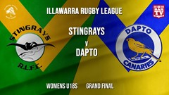 IRL Grand Final - Womens U18s - Stingrays of Shellharbour v Dapto Canaries Slate Image