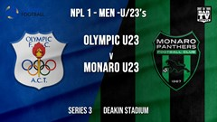 NPL1 Men - U23 - Capital Football  Series 3 - Canberra Olympic U23 v Monaro Panthers U23 Slate Image