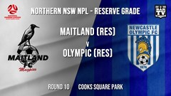 NPL NNSW RES Round 10 - Maitland FC (Res) v Newcastle Olympic (Res) Slate Image