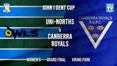 John I Dent Grand Final - Women's - UNI-Norths v Canberra Royals Slate Image